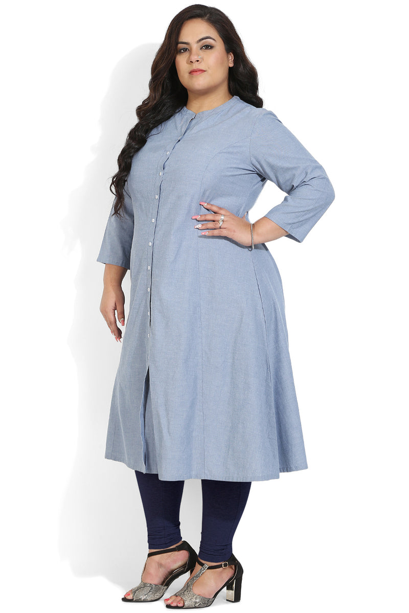 Blue Chambray Princess Seam A-Line Kurti