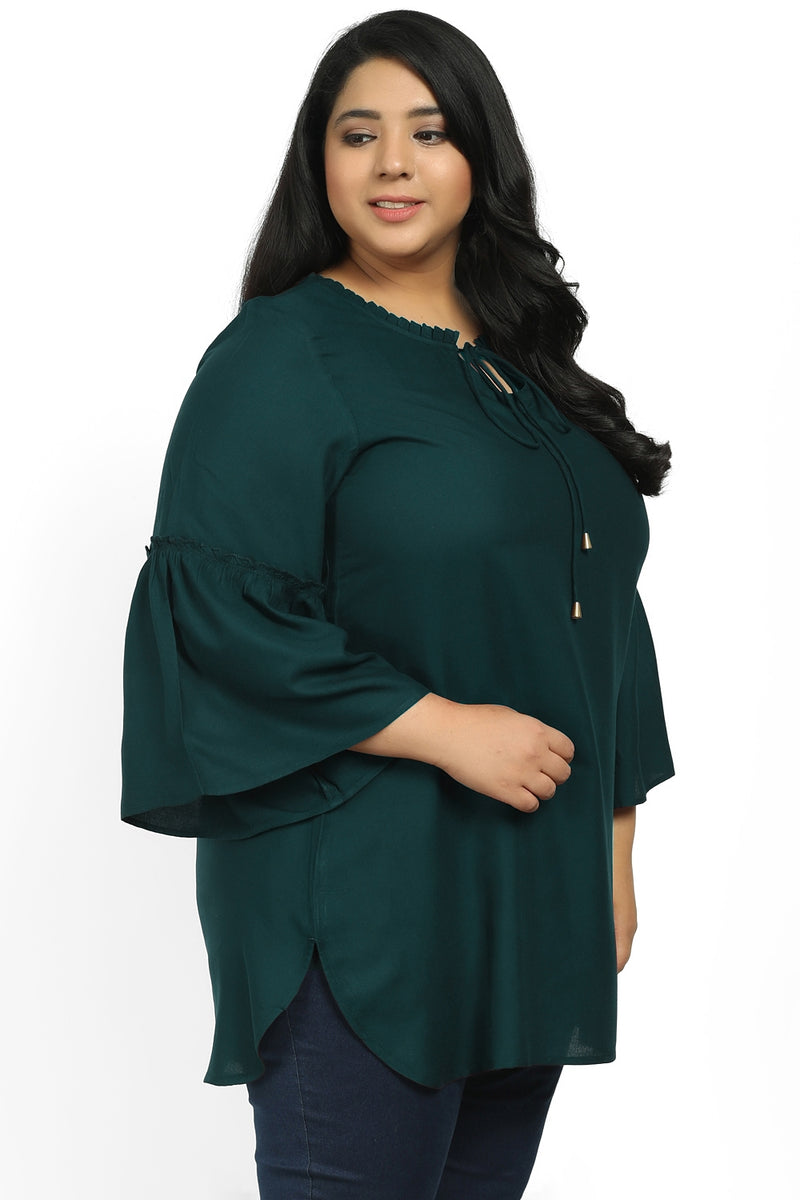 Emerald Green Mandarin Collar Tie Neck Top
