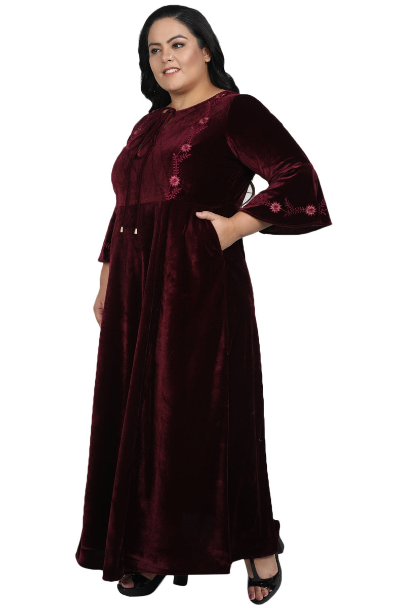 Plum Velvet Full Length Embroidered Gown