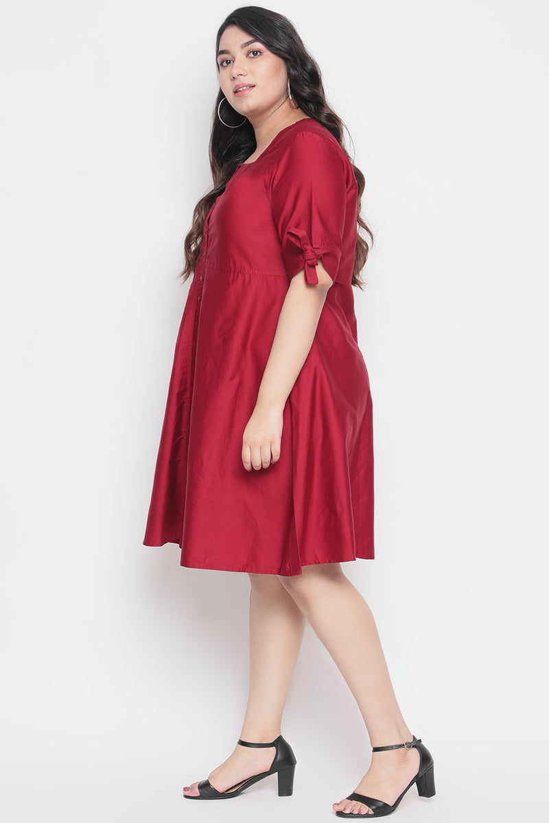 Maroon Tie Sleeve Dress