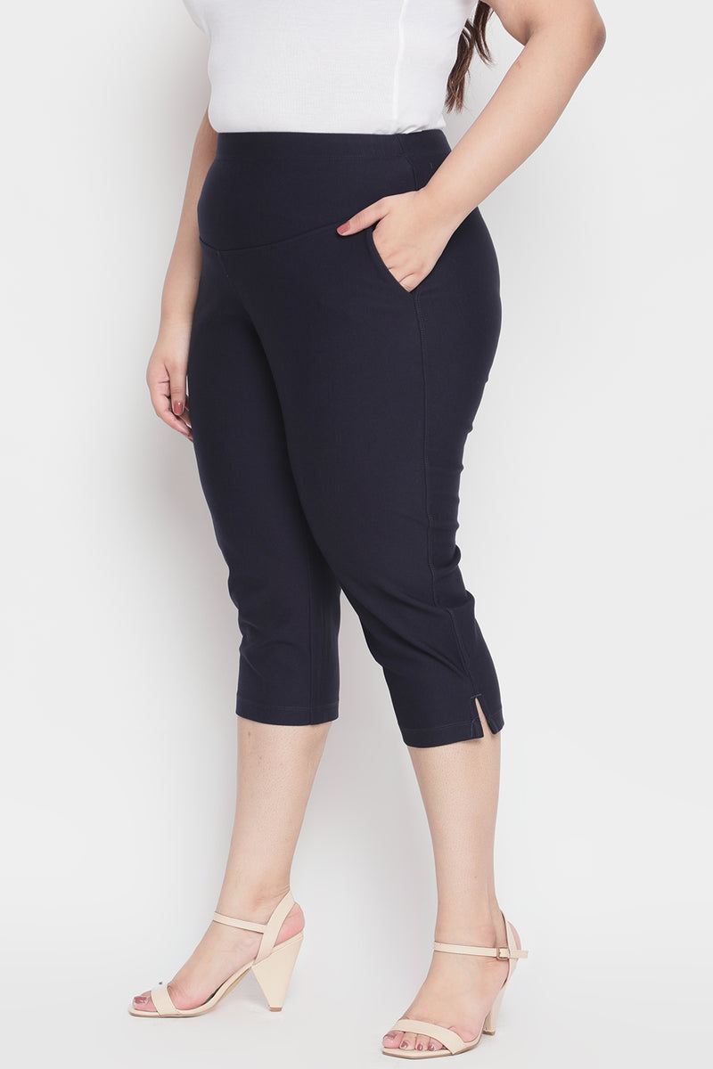 Navy Tummy Tucker Crop Pants