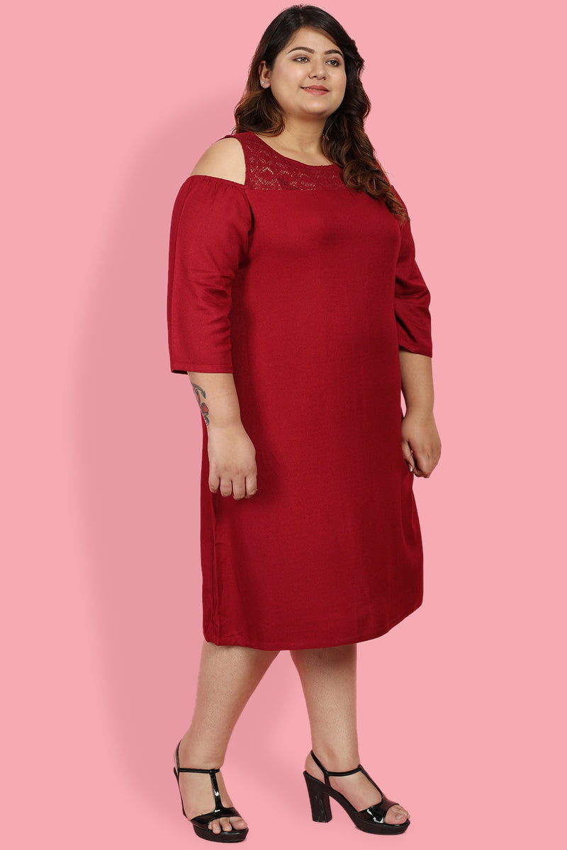 Chilly Red Lace Detail Cold Shoulder Dress