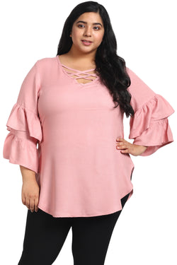 Rose Pink Criss Cross Neck Frill Sleeve Top
