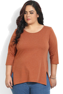 Brown Side Seam Basic Top