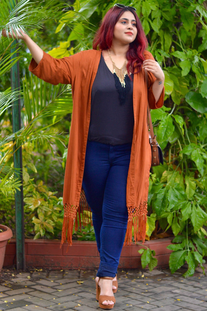 Rust Basic Bottom Lace Shrug