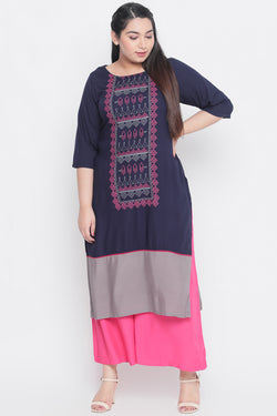 Navy Grey Bottom Panel Yoke Printed Kurti