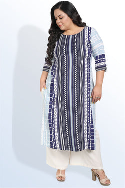 Blue Bird Linear Print Kurti