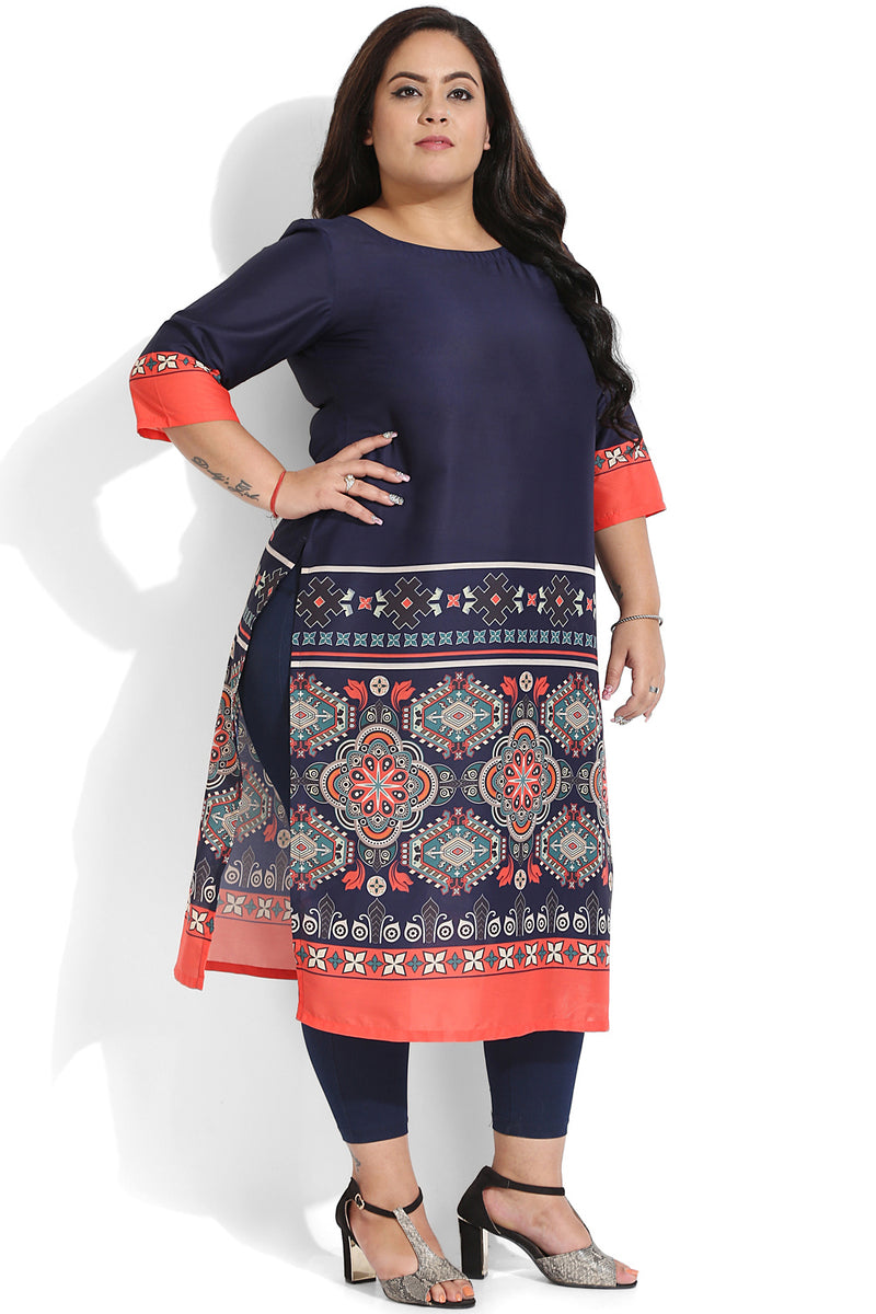 Navy Red Geometry Border Printed Kurti