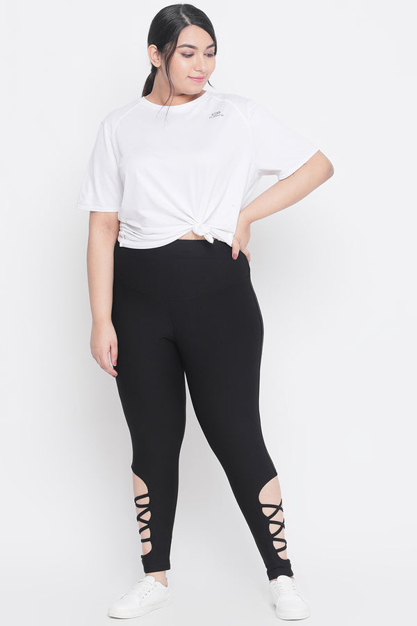 Black Criss Cross Tummy Shaper Jeggings