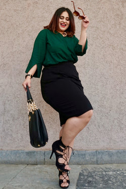 Green Cutout Sleeve Concealed Placket Top