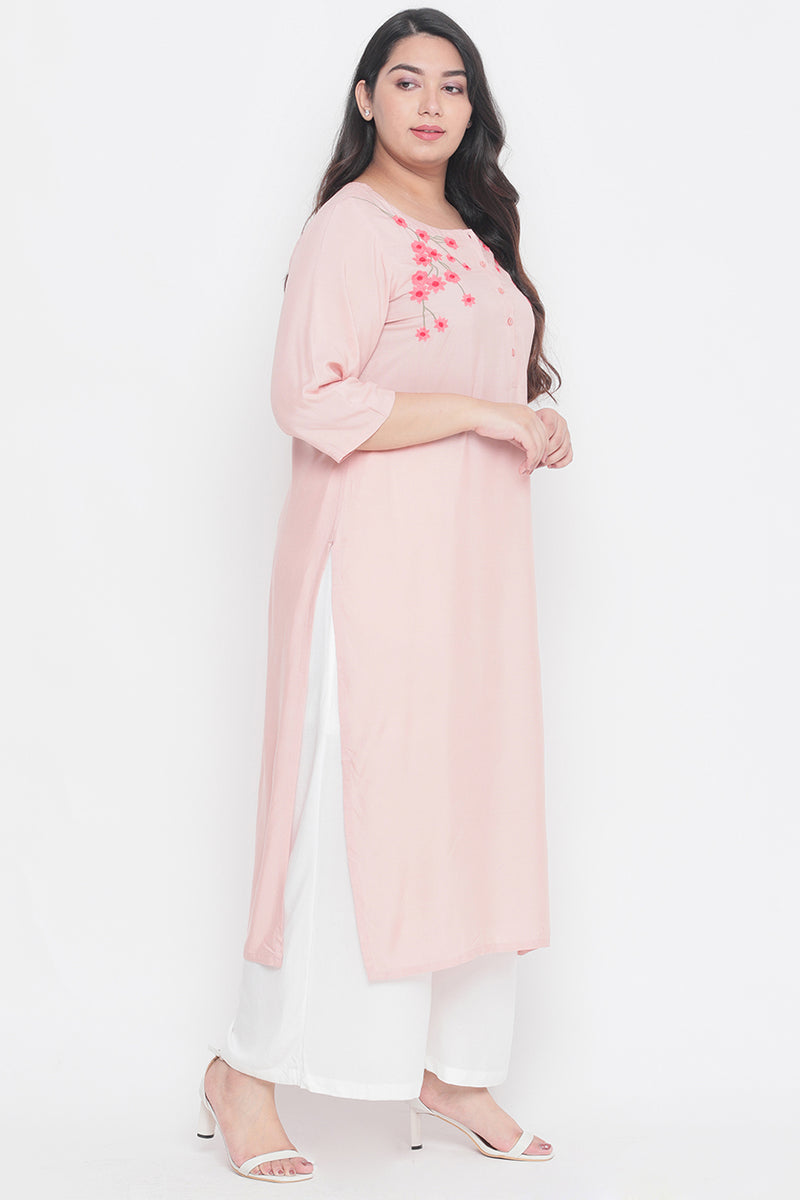 Rose Floral Embroidery Placket Closure Kurti