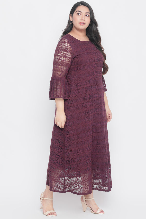 Plum Bell Sleeve Lace Dress