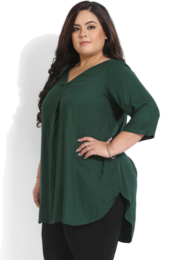 Deep Green Box Pleat Top