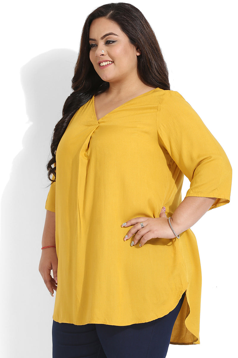 Mustard Liva Box Pleat Top