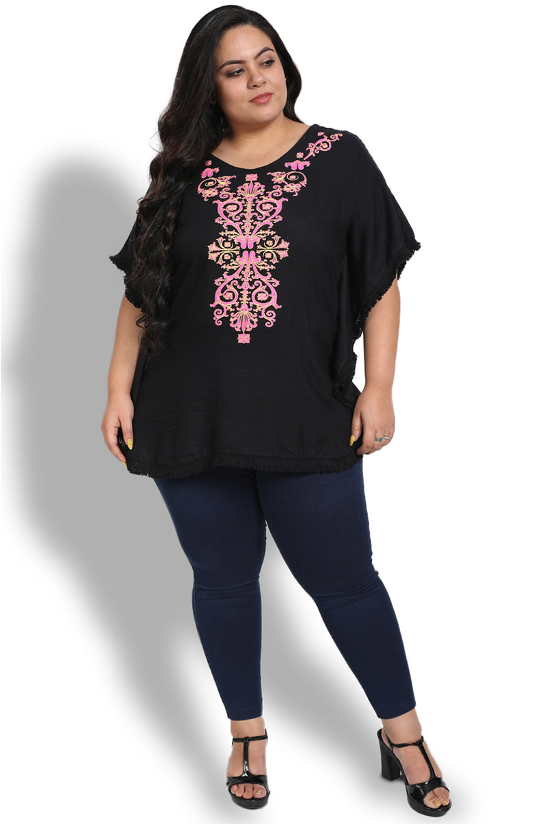 Black Printed Kaftan Top