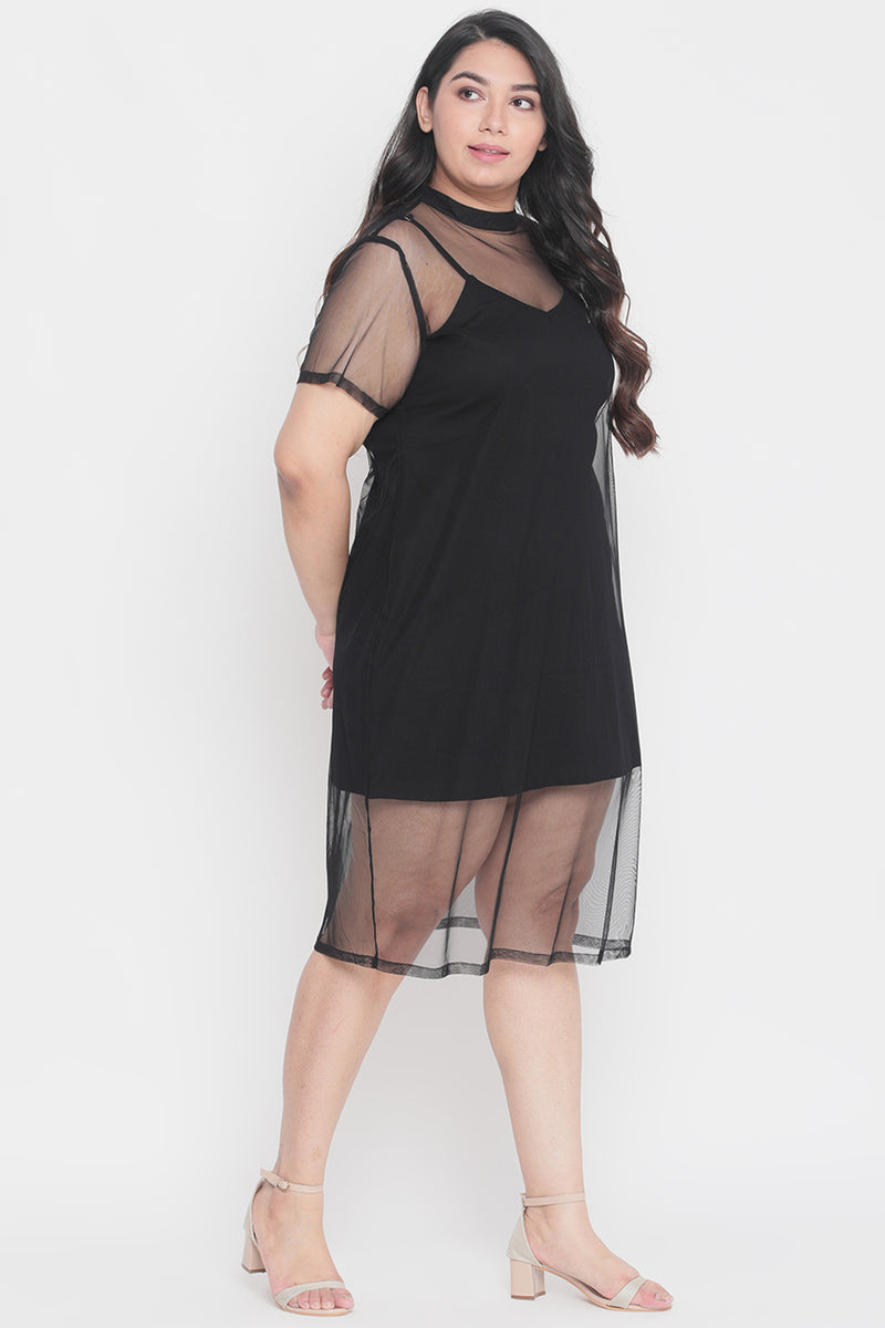 Black Net Mesh Dress with Slip