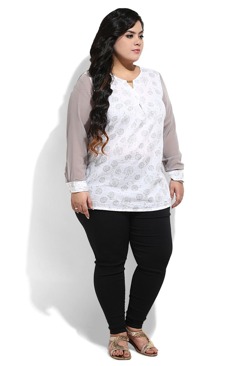 White Printed Embellished Centre Pleat Top