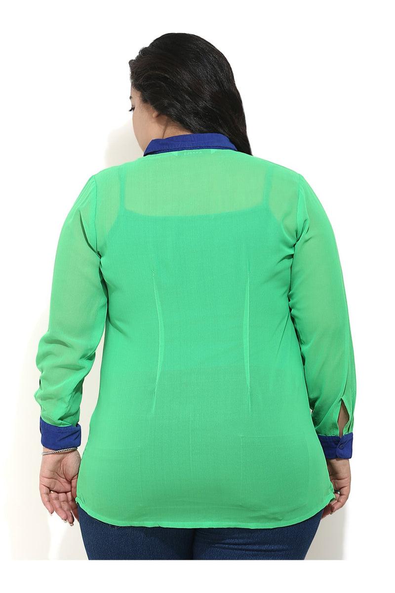 Green Sheer Shirt with Blue Detailing