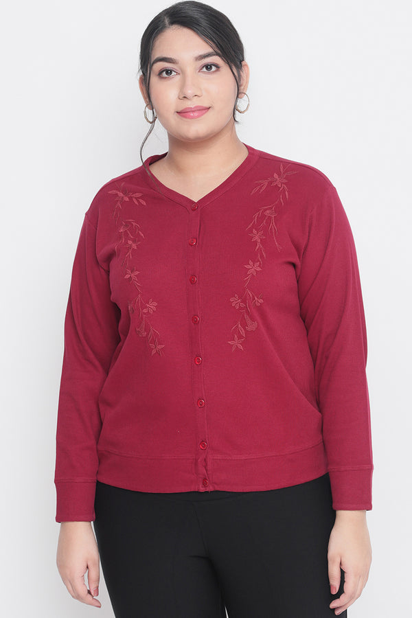 Embroidered Maroon Cardigan