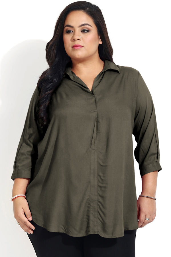 Olive Green Centre Pleat Collar Top