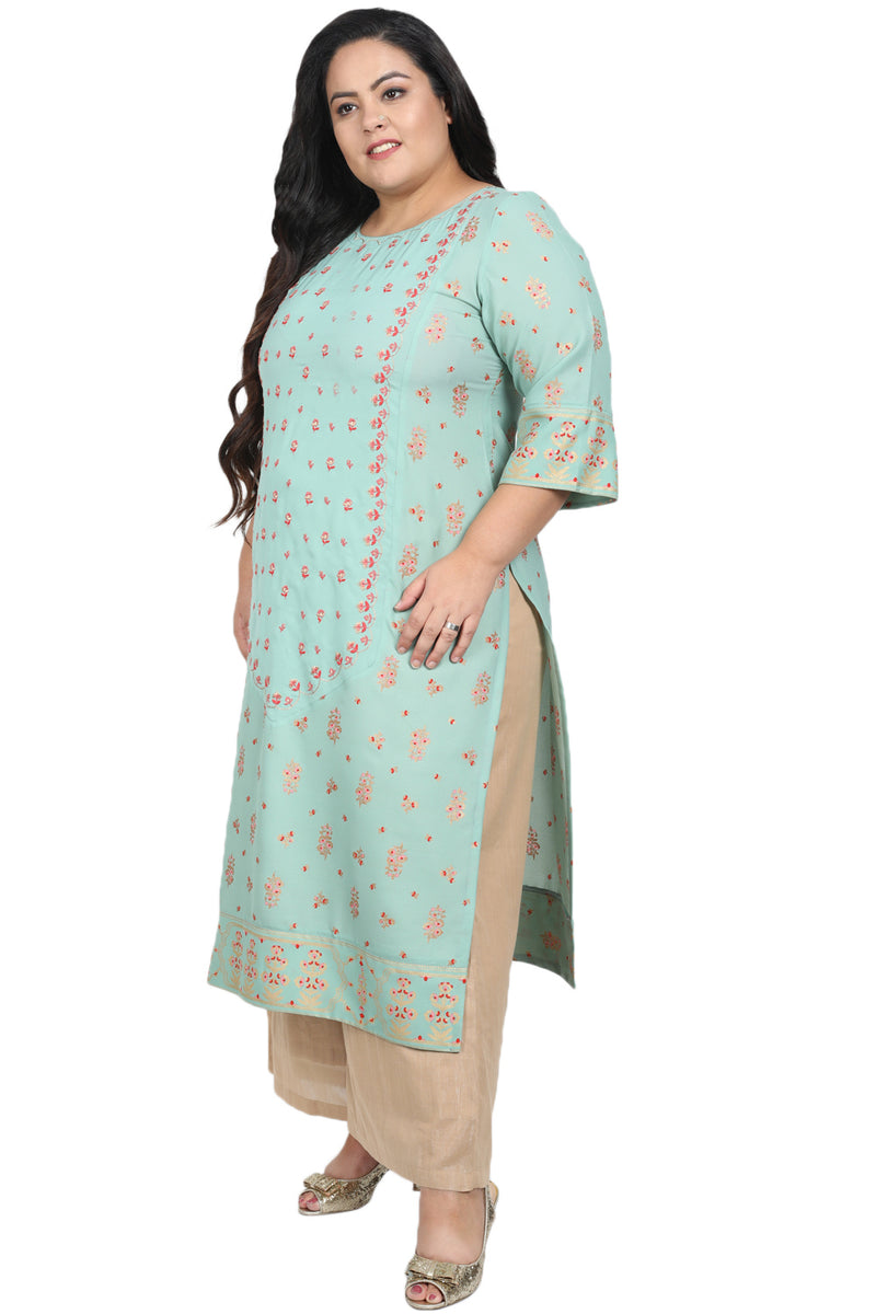 Menthe Printed Center Panel Embroidered Kurti