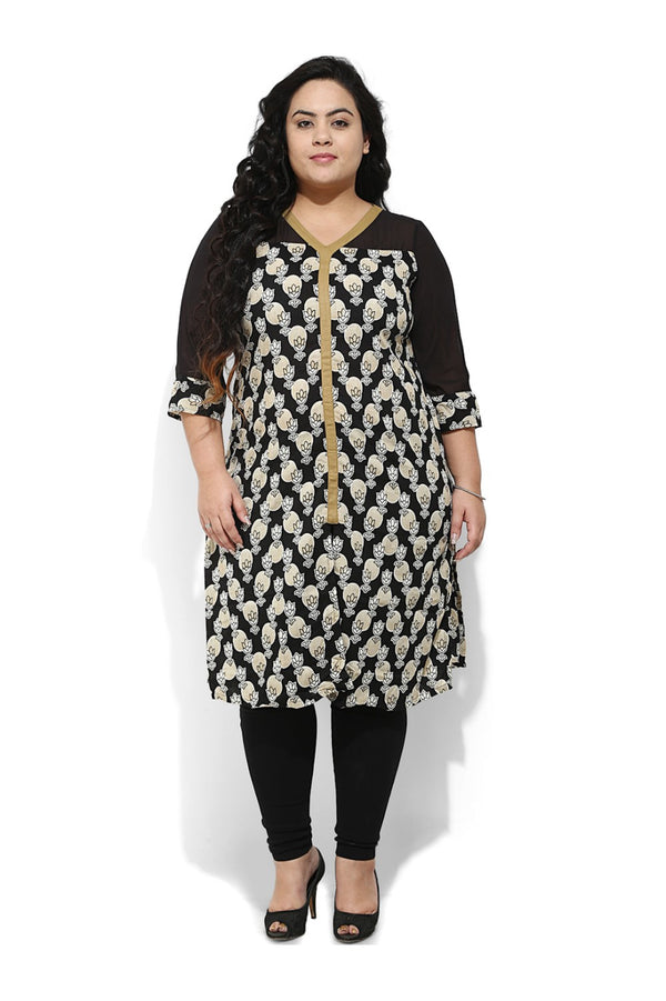 Black Print Straight Cut Kurtis with Side & Center Slits