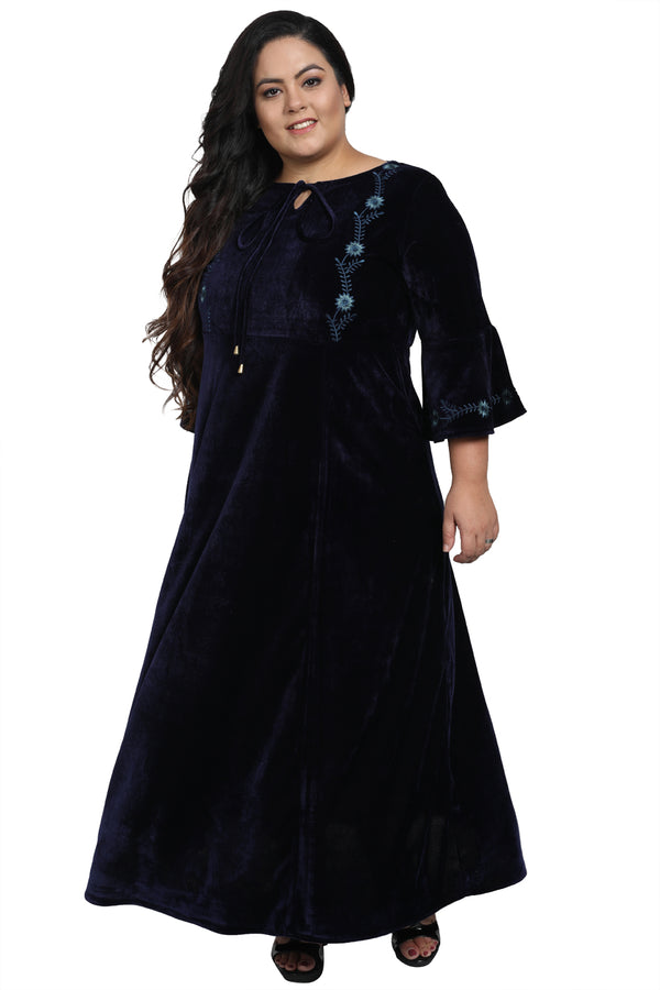Navy Velvet Full Length Embroidered Gown