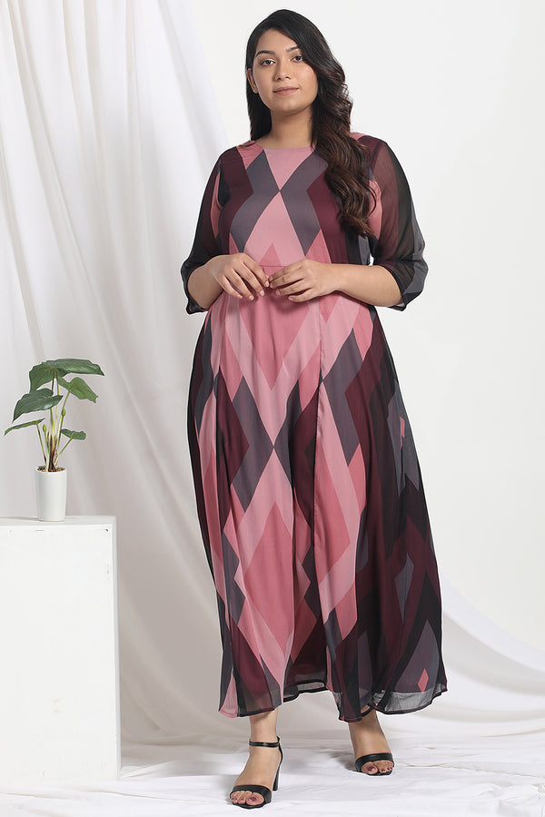 Dark Rose Printed Chiffon Dress