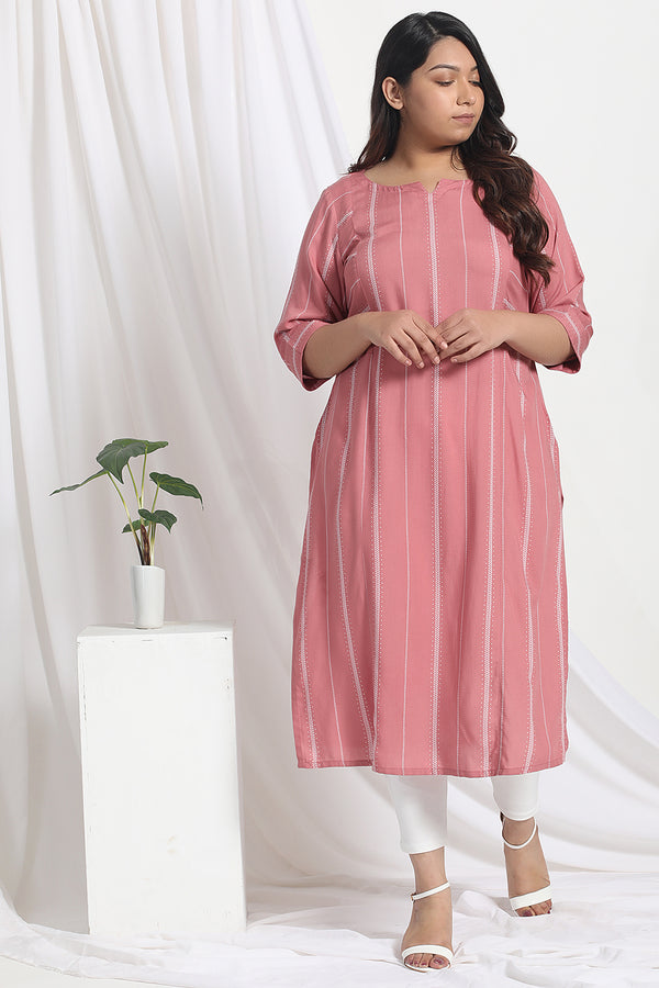 Dark Rose Print Kurta