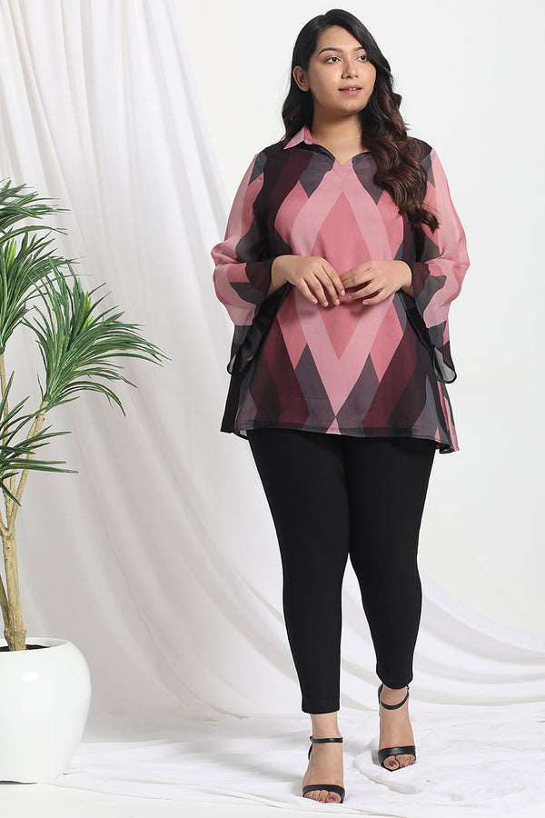 Dark Rose Rhombus Print Chiffon Top