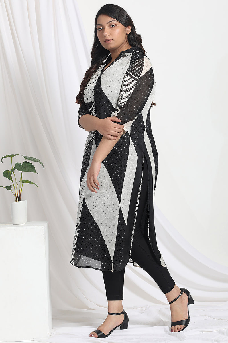 Black Satin Chiffon Collar Kurta