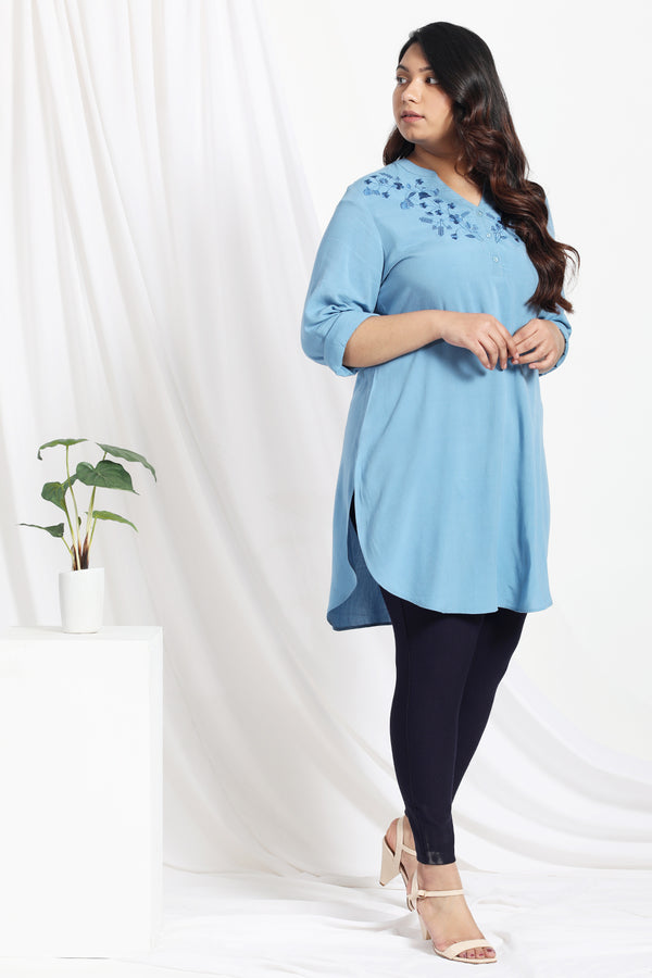 Stone Blue Embroidered Long-line Top