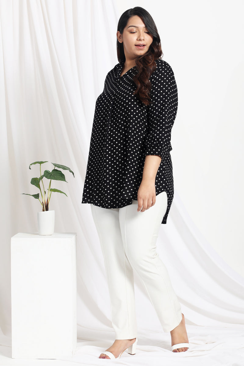 Black Polka Center Pleat Collar Top