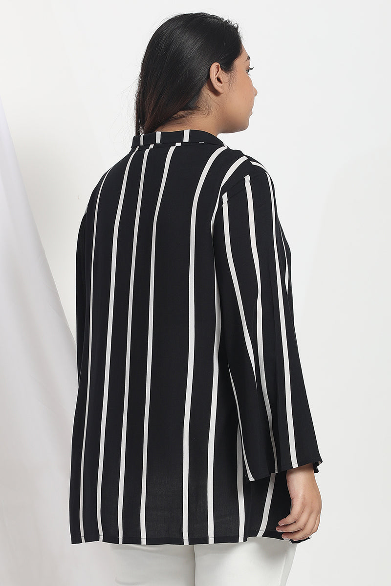 Black White Stripe Top