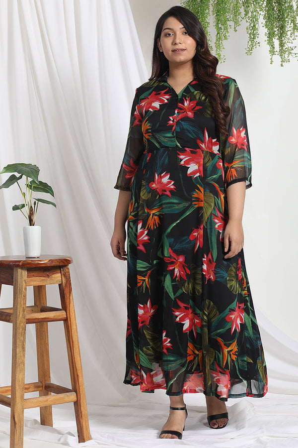 Black Tropical Print Chiffon Dress