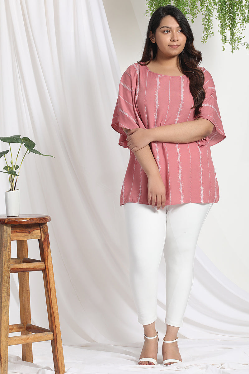 Dark Rose White Flare Sleeve Top