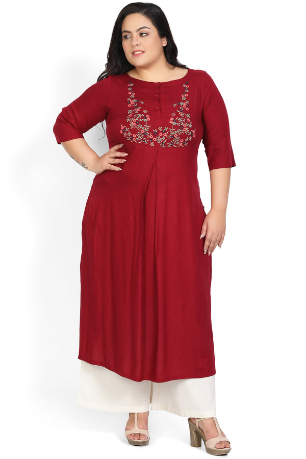 Maroon Embroidery Centre Pleat Kurti