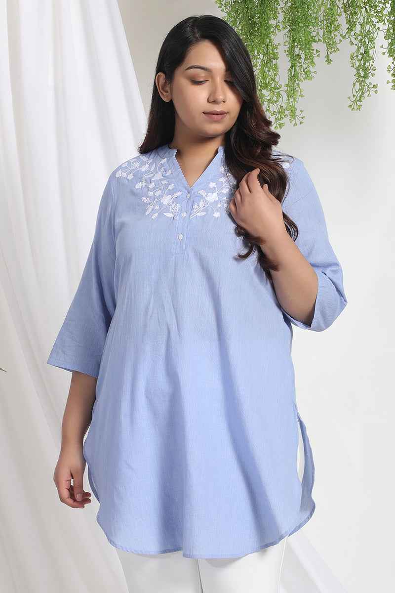 Blue Embroidered Longline Top