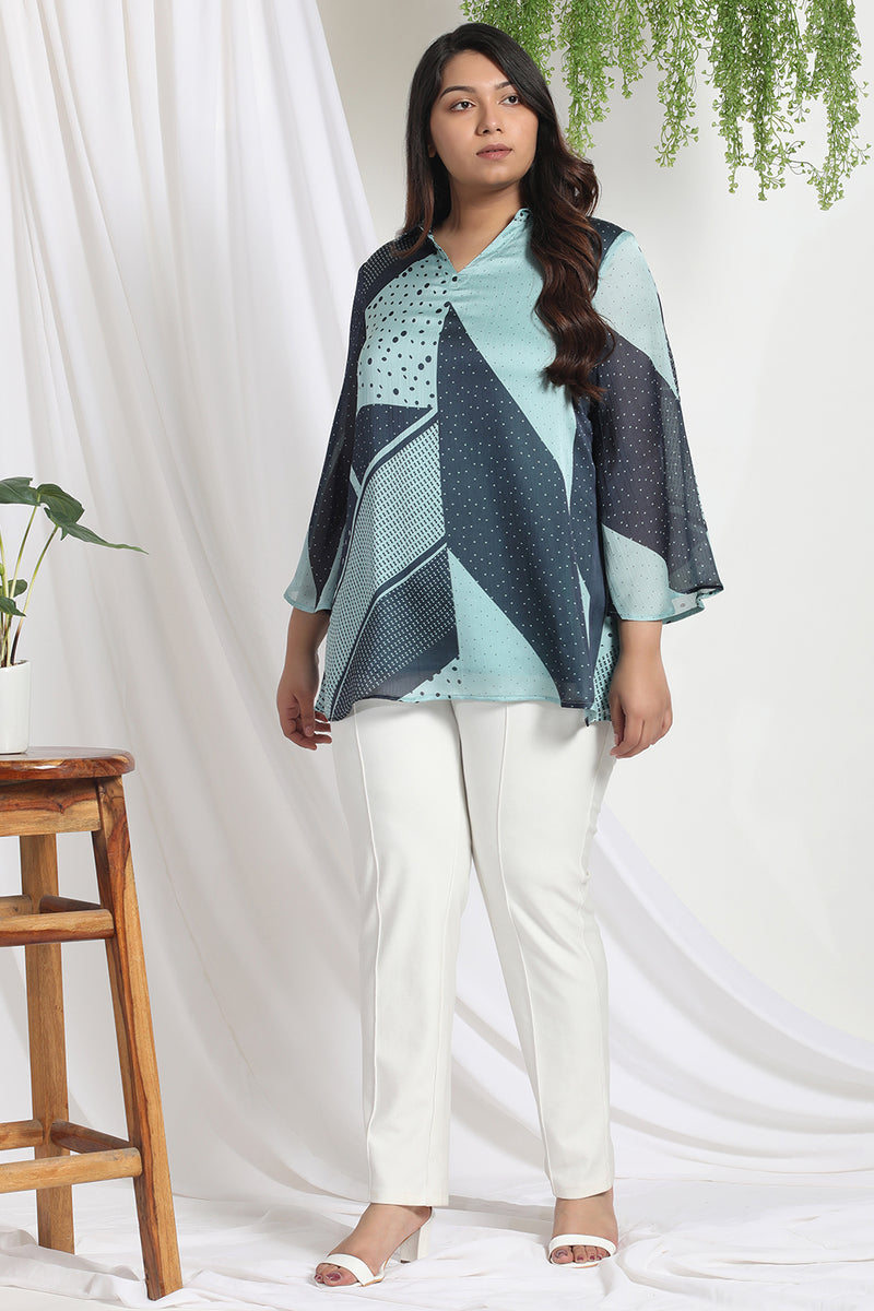 Reflecting Pond Printed Satin Chiffon Top