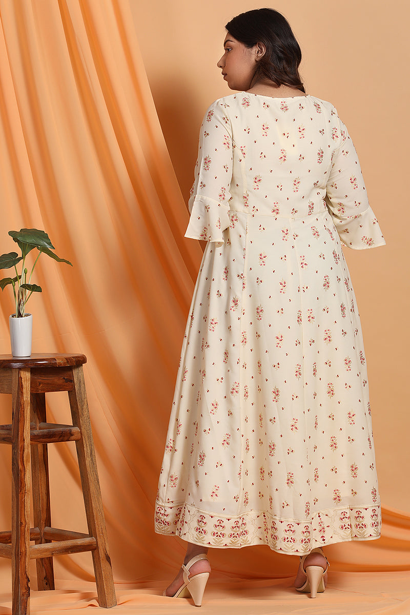 Cream Printed A-Line Gown