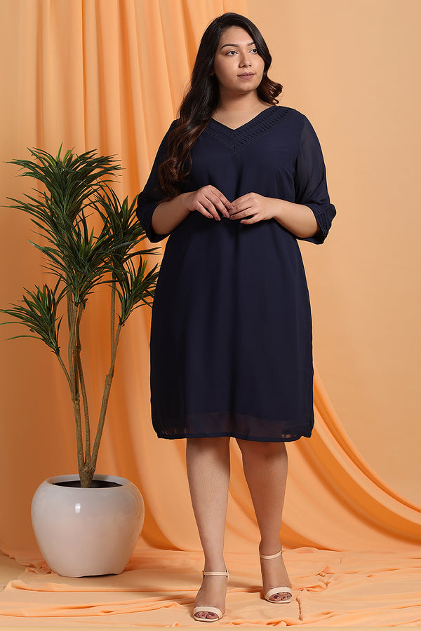 Dark Navy V-Neck Georgette Short Dress
