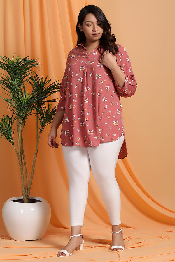 Peach Floral Center Pleat Collar Top