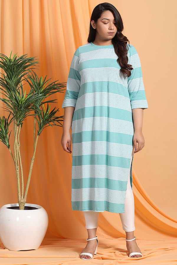 Tea Green Stripe Knitted Kurti