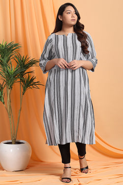 Black White Stripe Kurta