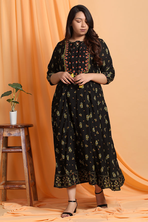 Black Print Yoke Embroidery Anarkali