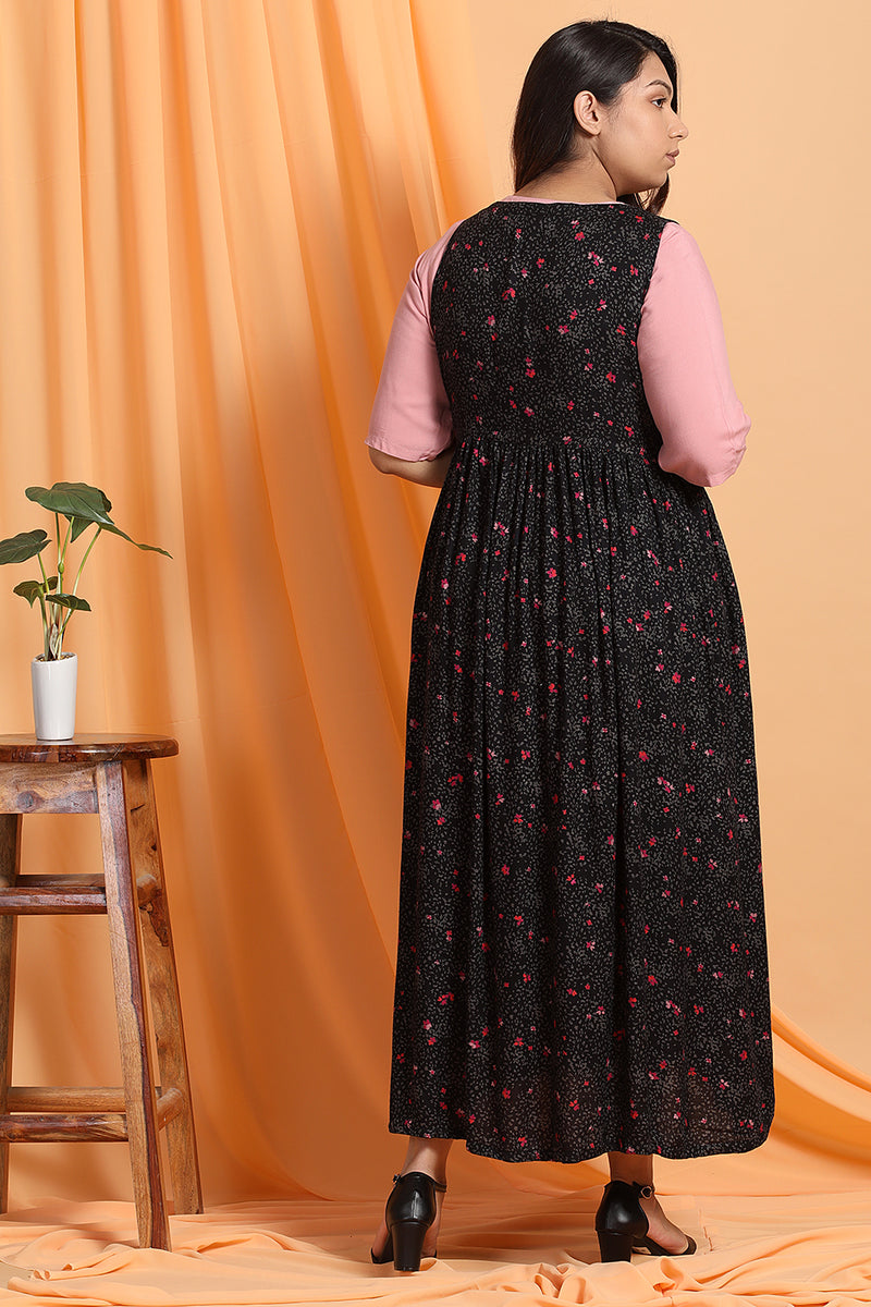 Black Floral Tie-up Shrug With Straight fit Dress