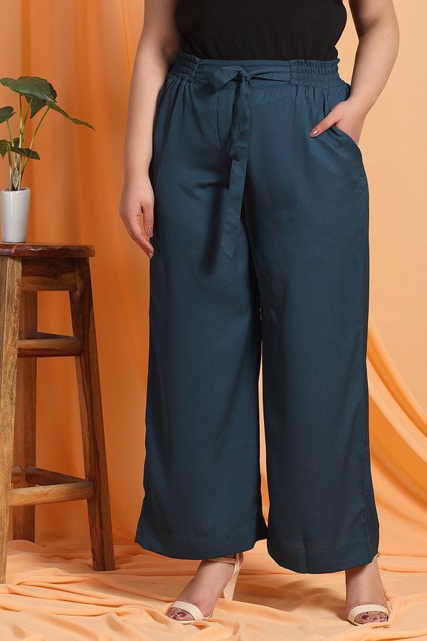 Teal Blue Tie Detail Pants