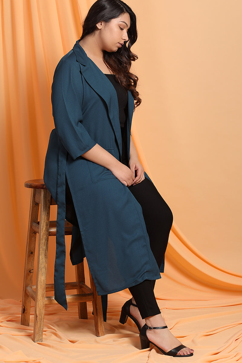 Teal Blue Blazer Style Duster