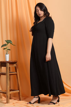 Black Gathered Yoke Detail Dress