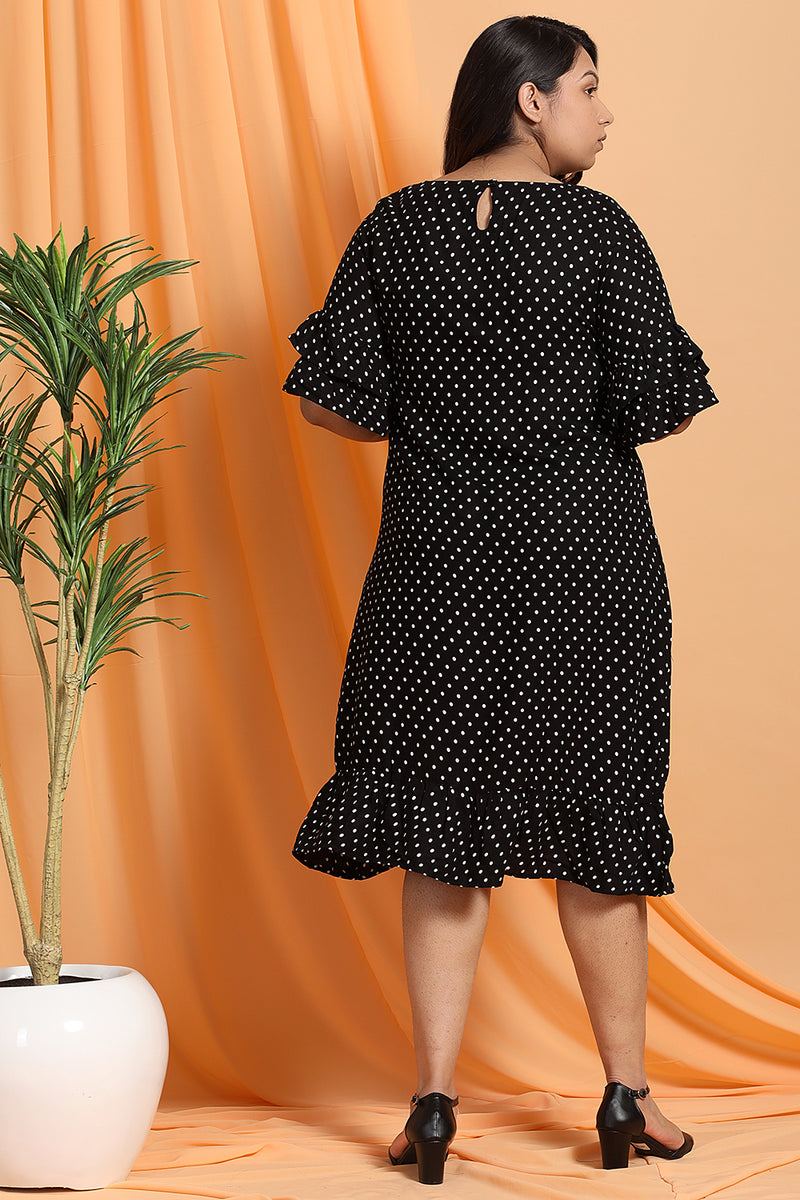 Black Polka Dot Flounce Sleeve Dress